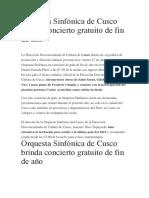 Orquesta Sinfónica de Cusco brinda concierto gratuito de fin de año