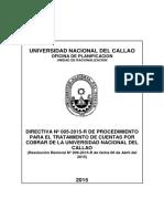 209-15-R DIRECTIVA Nº 05-15-R PROCEDIMIENTO TRATAMIENTO CUENTAS POR COBRAR