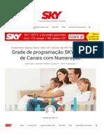 Grade de programação SKY _ Lista de Canais com Numeração
