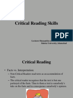 Lecture 4 Critical Reading Skills