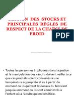 chaîne de Froid et gestion des stocks