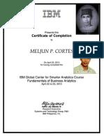 MELJUN CORTES IBM Training Certificate Business Analytics