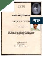 MELJUN CORTES IBM Training Certificate Enterprise Data Management