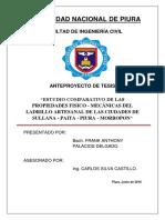 ESTUDIO COMPARATIVO DE LAS PROPIEDADES FISICO - MECÁNICAS DEL LADRILLO ARTESANAL DE LAS CIUDADES DE SULLANA - PAITA - PIURA - MORROPON