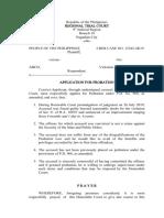 application for probation