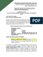 Modelo Demanda Cese Hostilidad Reducción Remuneración - Autor José María Pacori Cari