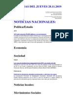 NOTICIAS DEL JUEVES 28.11.2019
