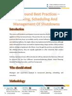 Turnaround Best Practices - Planning, Scheduling And Management Of Shutdowns