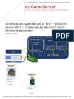 Accélérations synthétiques en bref - Windows Server 2016 - Communauté Microsoft Tech - Serveur d'impression - Tutos GameServer
