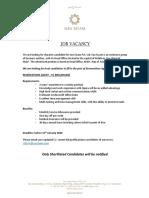 Job Vacancy _ Reservations Agent