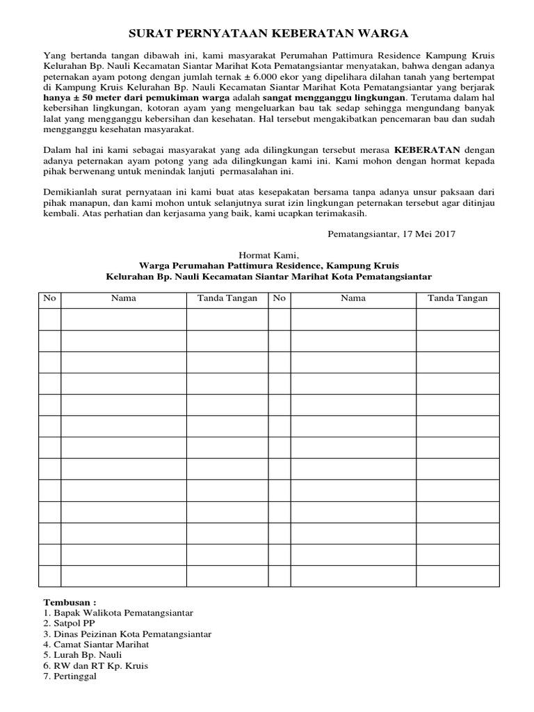 364497711 Surat Pernyataan Keberatan Warga Docx