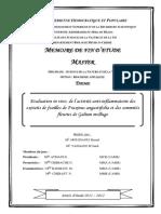 Evaluation in vivo, de l'activité anti-inflammatoire desextraits de feuilles de Fraxinus angustifolia et  des sommités fleuries de Galium mollugo