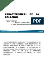 Características de La Colación_Derecho de Sucesiones