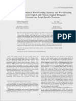 Cross-Language Transfer of Word Reading Accuracy and Word Reading Fluency in Spanish-English and Chinese-English Bilinguals- Script-Universal and Script-Specific Processes