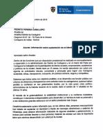 Carta de la Vicepresidenta Marta Lucía Ramírez, enviada al alcalde (E) de Cartagena.