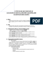INSTRUCTIUNI DE SECURITATE SI SANATATE IN MUNCA PENTRU MANIPILARE SI DEPOZITARE MARFA