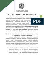 Cátedra de Derecho Constitucional de la UCV - Comunicado