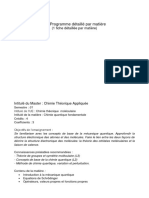 Master Chimie Teorique Matiere