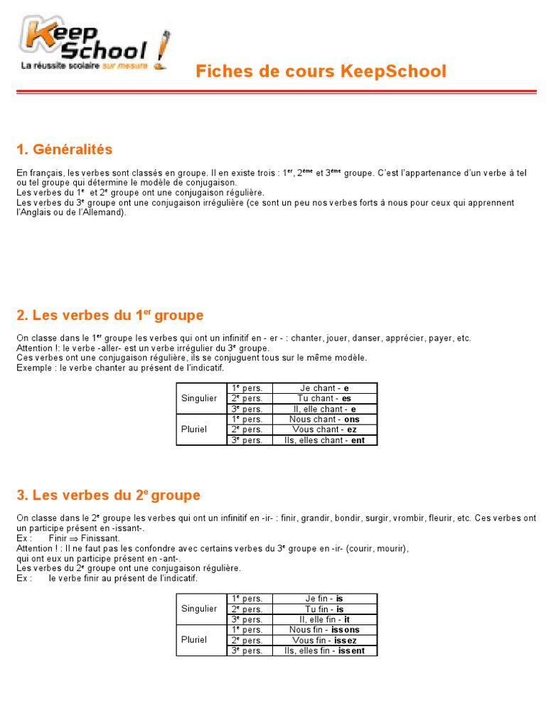 Groupes Verbaux Nombre Grammatical Verbe