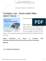 Company Law - Some useful Main object Clause - I