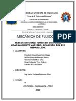 TERCER TRABAJO (FLUJO NO UNIFORME Y GRADUALMENTE VARIADO, EC. DEL EJE HIDRAULICO)