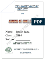 """CLASS 12 CBSE INVESTIGATORY PROJECT - CHEMISTRY INVESTIGATORY PROJECT ON """"ANALYSIS OF FRUIT JUICES"""""""