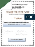 Analyse physico-chimiques et microbiologiques de deux produits laitiers « Danette » et « Danao »