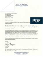 Maryland Governor Hogan Letter to Trump Administration