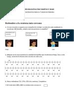 EXAMEN DE MATEMATICA PARA EL 4 y lenguaje