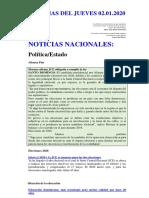 NOTICIAS DEL JUEVES 02.01.2020