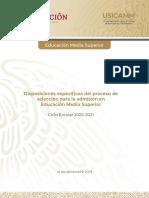 Disposiciones especificas Admision, EMS 2020-2021