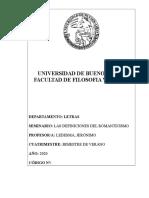 PROGRAMA SEMINARIO LAS DEFINICIONES DEL ROMANTICISMO