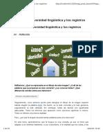 Las diversidad lingüística. Los registros