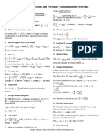 Formula Sheet-Radio Systems and Personal Communication Networks