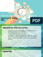 COST OF CAPITAL IN FINANCIAL MARKETS