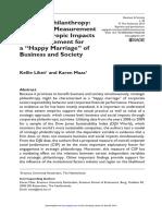 265. Filantropia estratégica- avaliação corporativa de impactos filantrópicos como requisito para um casamento feliz de empresas e sociedade