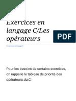 Exercices en langage C_Les opérateurs — Wikilivres