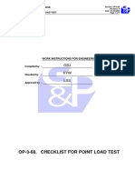 Checklist for Point Load Test