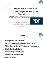 Ground Water Pollution Due to Industrial Discharges in Gampaha District (WEPA Action Programme 2017)