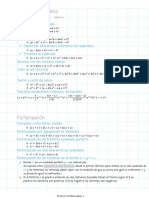 Resumen de casos de productos notables y factorización.
