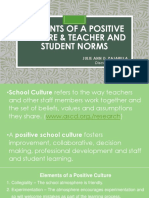 ELEMENTS OF A POSITIVE CULTURE & TEACHER AND