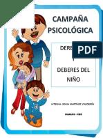 CAMPAÑA PSICOLOGICA DERECHOS Y DEBERES DEL NIÑO
