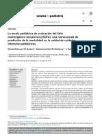 La escala pediátrica de evaluación del fallo multiorgánico secuencial_ una nueva escala de predicción de la mortalidad en la unidad de cuidados intensivos pediátricos