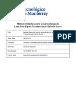 Método Didáctico para el Aprendizaje de Lean Seis Sigma