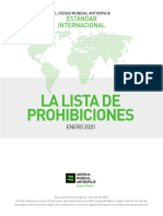 Wada 2020 Spanish Prohibited List