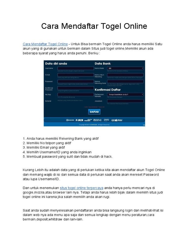 cara mendaftar togel online