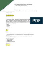 Cuestionario de Práctica de saberes disciplinares EGB