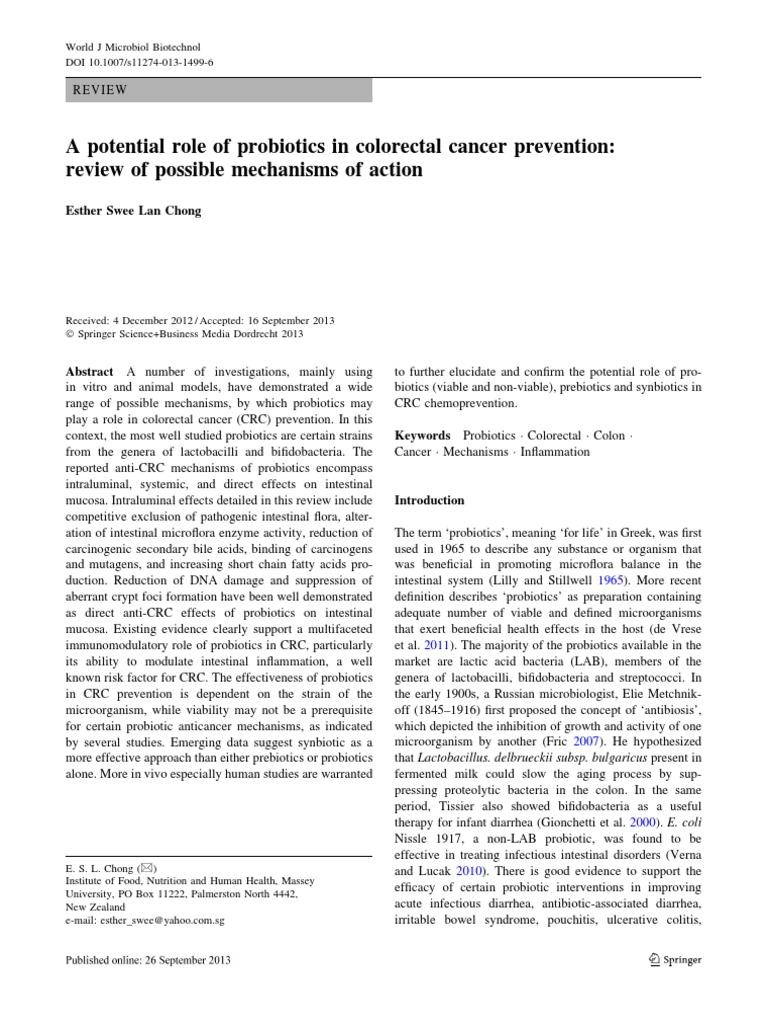 Colorektal Cancer Probiotic Inflammatory Bowel Disease