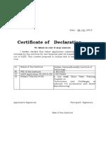 AQIS Sample Declaration Certificate