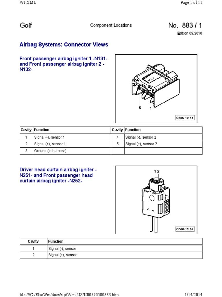 mk6 golf gti wiring diagrams & component locations.pdf   airbag   seat belt  scribd